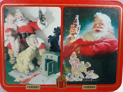 Nostalgia Playing Coca Cola Cards in Tin Christmas Set 2 cards 1964/1952 Picture