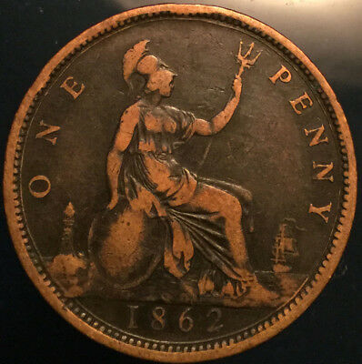 1862 UK GB GREAT BRITAIN VICTORIA PENNY - Good example!