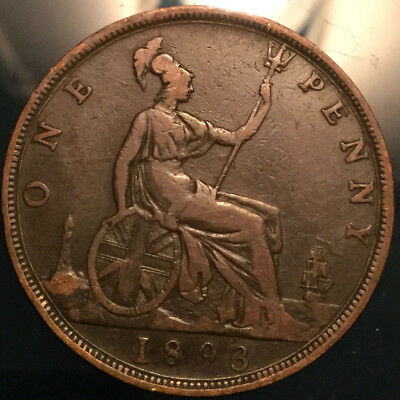 1893 UK GB GREAT BRITAIN VICTORIA PENNY - Good example!