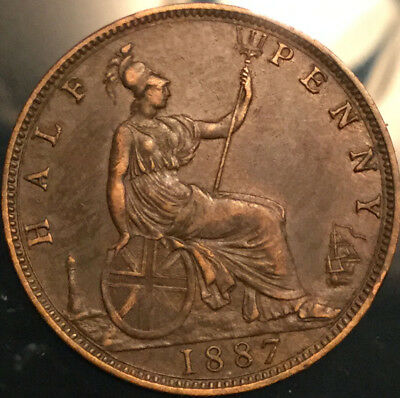 1887 UK GB GREAT BRITAIN VICTORIA HALFPENNY - Superb example!