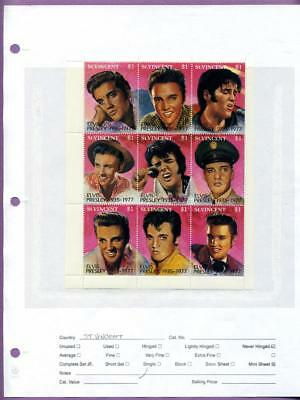 Elvis Presley 1992 St. Vincent Commemorative Mini Sheet of 9 with COA MNH