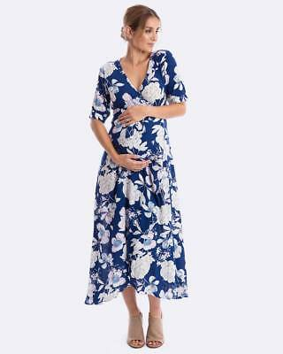Maive & Bo Maternity Nursing Dress Harlow Navy Floral S M L XL Breastfeeding