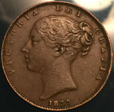 1839 UK GB GREAT BRITAIN VICTORIA FARTHING - Great example!