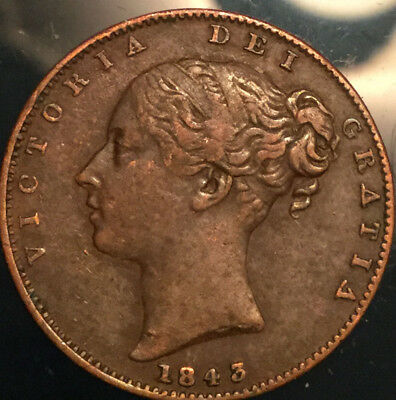 1843 UK GB GREAT BRITAIN VICTORIA FARTHING - Great example!