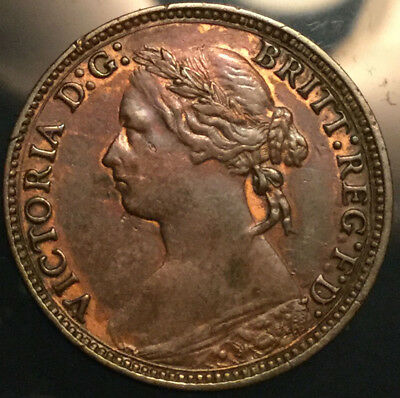 1878 UK GB GREAT BRITAIN VICTORIA FARTHING - Great example - Cleaned