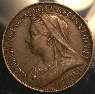 1901 UK GB GREAT BRITAIN VICTORIA FARTHING - Great example!