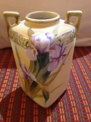 """Antique Hand Painted NIPPON Vase Beaded Gold Moriage Floral 5.75"""" Double Handled"""