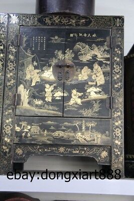 "31"" Chinese Wood Painted Lucky Children Boy Armoire wooden cupboard Crate Chests"