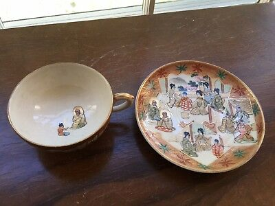 FINE ANTIQUE JAPANESE SATSUMA CUP AND SAUCER -signed
