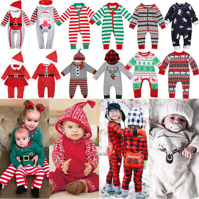 Christmas Newborn Toddler Baby Girls Boys Long Rompers Jumpsuit Outfits Clothes