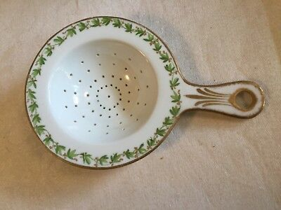 Antique Vintage Porcelain TEA STRAINER - Green Leafy Vine w/ berries & Gold Trim