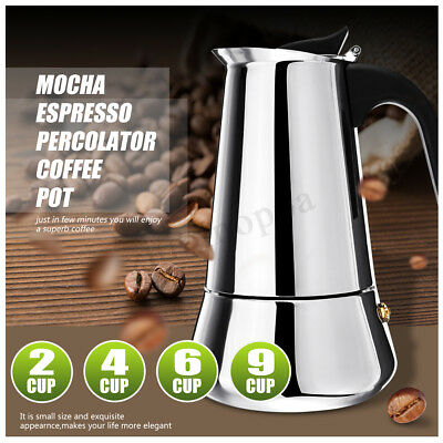 Stainless Steel Mocha Espresso Latte Percolator Stove Top Coffee Maker Pot Tool