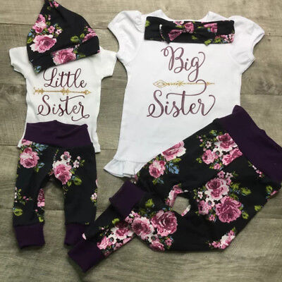 021431fe778f US Toddler Kid Baby Girls Little Big Sister Romper T-shirt Pants Outfits  Clothes