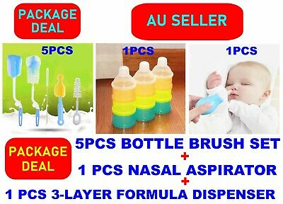 Baby Milk Powder Formula Dispenser+Bottle Cleaning Brush+Nasal Aspirator Pump