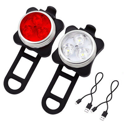 USB Rechargeable LED Bicycle Bike Lights Set Headlight Taillight Caution 160LM