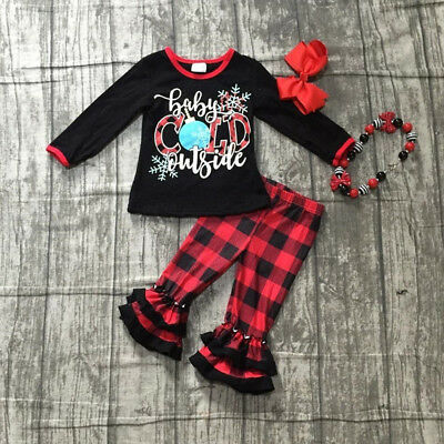 US Christmas Toddler Kids Baby Girls Xmas Top Plaid Pants Cotton 2Pcs Outfit Set