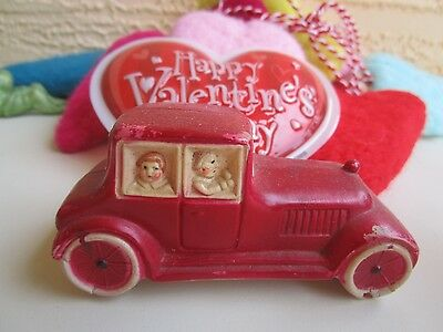 Vintage 30's Celluloid Car With Mom&dad&kids Inside Xmas/valentines Decoration