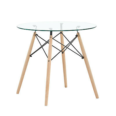 Dining Table Round Glass Clear Table Kitchen Dining Room Coffee Table 9211