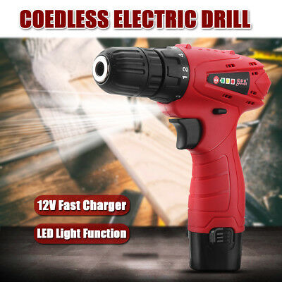 12V Cordless Rechargeable Drill Driver Screw Electric Lithium-ion Screwdriver