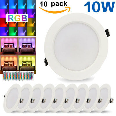 5W 10W RGB Recessed LED Ceiling Panel Light Downlight Ultra Thin Remote Control