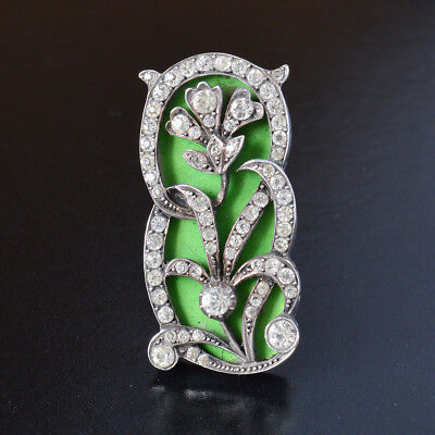 Large Antique Edwardian Sterling Silver Paste Green Enamel Flower Brooch French