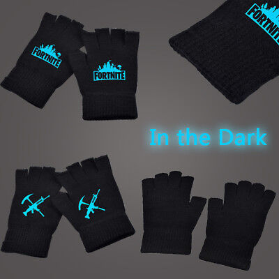 UK Kids Boys Knitted Gloves Winter Fingerless Gloves Game Logo Glow In Dark