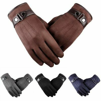 Men Winter Leather Gloves Full Finger Motorcycle Driving Warm Glove Touch Screen