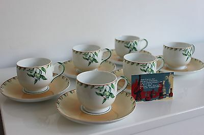 6 cups and saucers porcelain Jean Louis Coquet model Benares Riviera Limoges (1