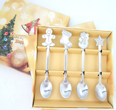 4 x Teaspoons Stainless Steel Spoons Christmas Tea Coffee Cream Scoop Silver NEW