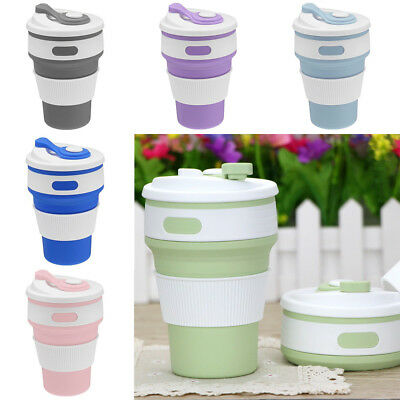 AU 350ML Collapsible Silicone COFFEE CUP Mug Reusable Travel Foldable Leak Proof