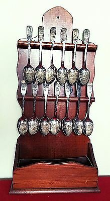 Collectible 13 Colonies Silver Spoon Set and Rack International Silver Company