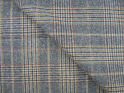 "FABRIC Plaid 100% WOOL 2½+ yards 57""W Brown Black Tan Olive Jacket Skirt Slacks"
