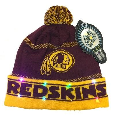 356ee083325 Washington Redskins Led Light Up Knit Pom Pom Knit Hat Beanie Free Shipping