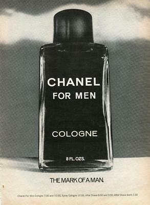 "Chanel Cologne Bottle Print Ad ""the Mark Of A Man"" Chanel For Men Cologne Ad"