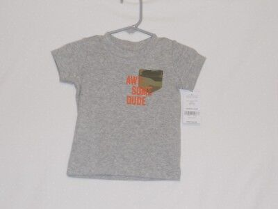 "NWT CARTERS Baby Boys 6 Mos ""Awesome Dude"" Gray T-Shirt"