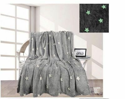"100% POLYESTER ""GLOW IN THE DARK"" COZY SUPER SOFT BED BLANKET THROW 140 x 180cm"