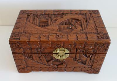 Antique Vintage Asian Hand Carved Good Luck Wooden Chest China Export Hong Kong