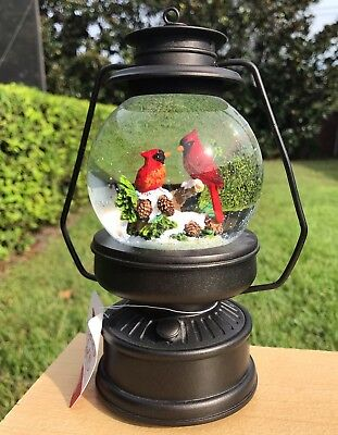 Red Cardinals Snow Globe Birds Christmas Ornament Lantern MUSICAL Home Decor NEW