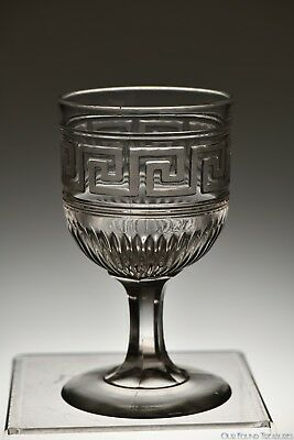 "3Q 1800s FROSTED ROMAN KEY by Union Glass FLINT CRYSTAL 5.75"" H Goblet"