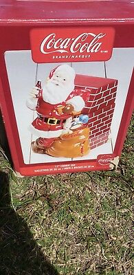 """COCA-COLA 2005 SANTA AT FIREPLACE GIBSON 11"""" COOKIE JAR - pre-owned with box"""