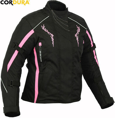 Womens Pink  Speed Maxx Ladies Ce Smart Fit Motorbike Motorcycle Textile Jacket
