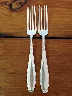 Pair 2 Vintage Silverplate WMF 90 Leaf Flroal Dinner Forks Antique Flatware 7""