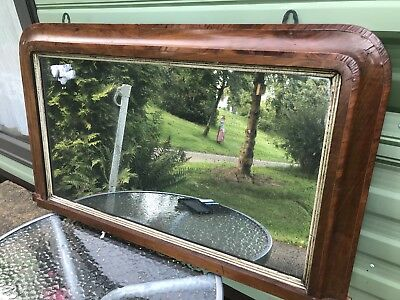 Antique Overmantle , Distressed , Foxed Plate Mirror
