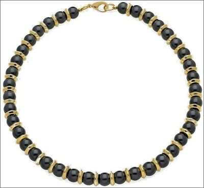 """Egyptian Onyx Beaded Necklace with 24K Gold-Plate Roundels 18"""" Long"""