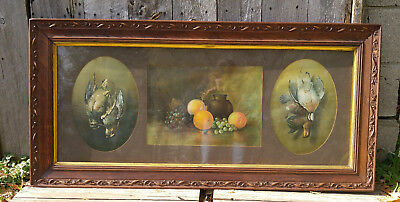 Antique Triptych Triple Matted Litho Print Game Birds Fruit Wooden Floral Frame