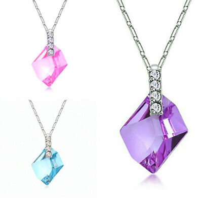 925 Sterling Silver Music Crystal Pendant Necklace Womens Jewellery Lover Gifts