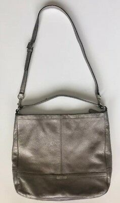 COACH PARK F23293 Pewter Pebbled Leather Hobo Shouder Crossbody Bag Purse f0b6ea2e9c8d0