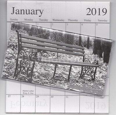 1 - 2018-2019 BLACK & WHITE BENCH 2 Two Year Planner Pocket Calendar Datebook