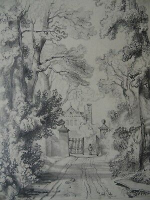 Wyrley Grove Ancient House. Staffordshire Landscape. 1843 Pencil Drawing