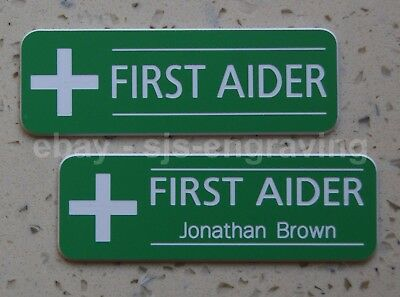 Quality Engraved FIRST AID / AIDER badge - your choice of name - pin or magnetic